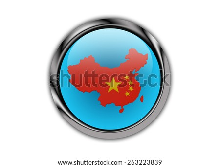 China Map Curved On A Metal Glossy Push Button - stock photo