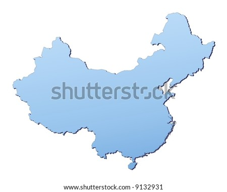 China map filled with light blue gradient. High resolution. Mercator projection. - stock photo