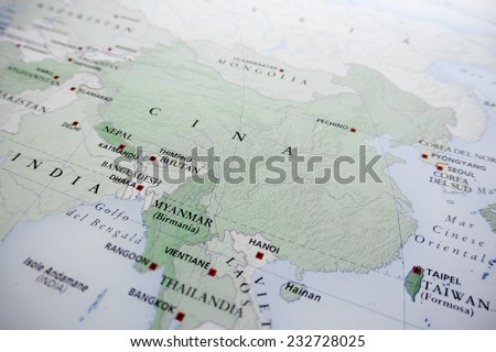 China map (Geographical view altered on colors/perspective and focus on the edge. Names can be partial or incomplete) - stock photo