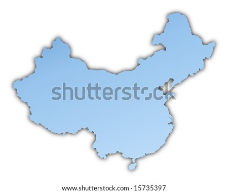China map light blue map with shadow. High resolution. Mercator projection. - stock photo