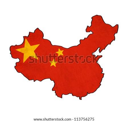 China map on China flag drawing ,grunge and retro flag series - stock photo