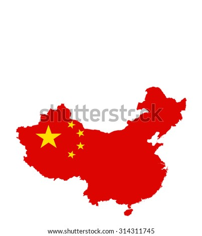 China map with flag - stock photo