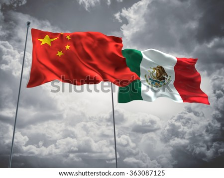 China & Mexico Flags are waving in the sky with dark clouds - stock photo