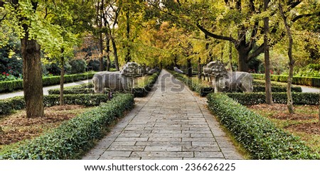 China Nanjing Ming Dynasty tombs alleyway in the park autumn season with yellow trees and stone statues escorting emperors - stock photo