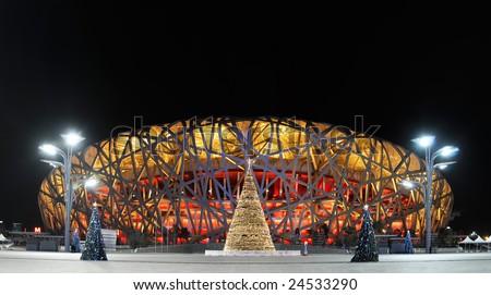China Olympic National Stadium (Bird's Nest) in the Christmas Eve - stock photo