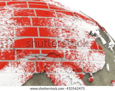 China on brick wall model of planet Earth with continents made of red bricks and oceans of wet concrete. Concept of global construction. 3D rendering. - stock photo