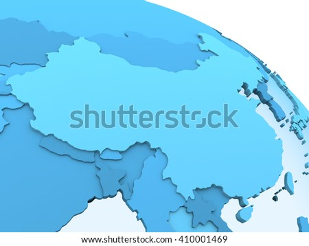 China on translucent model of planet Earth with visible continents blue shaded countries. 3D rendering. - stock photo
