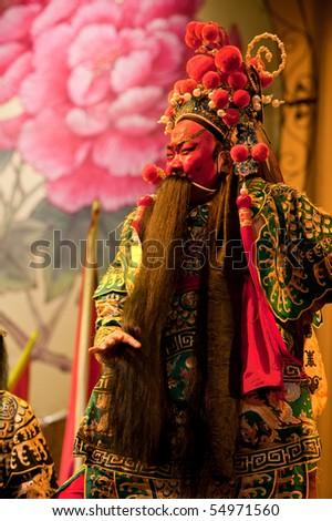 china opera man with long beard - stock photo
