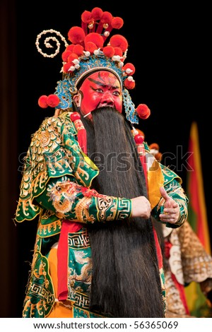 china opera man with red face - stock photo