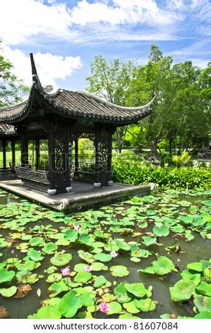 China pavilion in lotus lake - stock photo