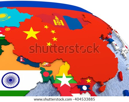 China - political map of China and surrounding region with each country represented by its national flag.