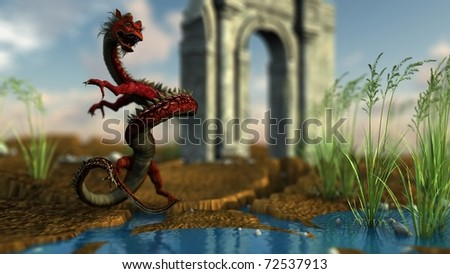 china red dragon and old ruined arch - stock photo