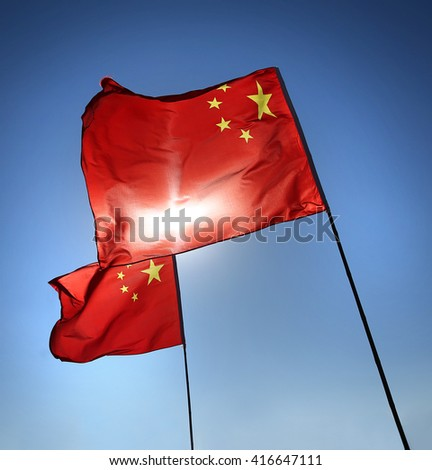 China red flag in the blue sky background