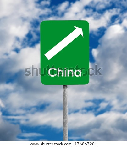 China road sign over sky background