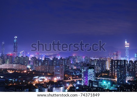 China's Shenzhen city in the night