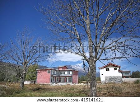 China's Tibet rural house   - stock photo