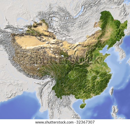 China, shaded relief map. Colored according to vegetation, with major urban areas. Includes clip path for the state boundary.
