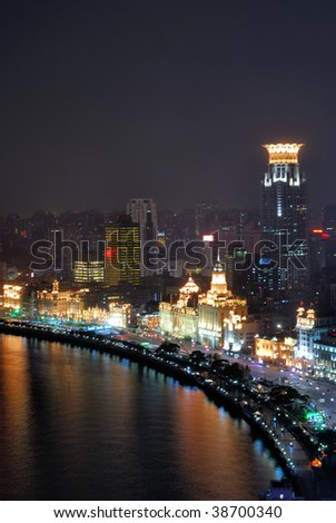 China Shanghai Bund aerial night view - stock photo
