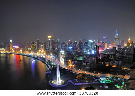 China Shanghai Bund and Puxi aerial night view - stock photo
