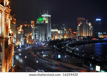 China Shanghai Bund night view - stock photo