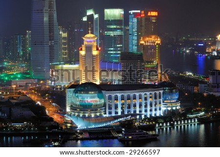 China Shanghai  Pudong buildings aerial night view. - stock photo