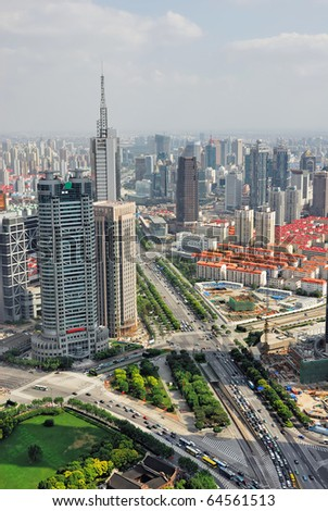 China Shanghai Pudong skyline - stock photo