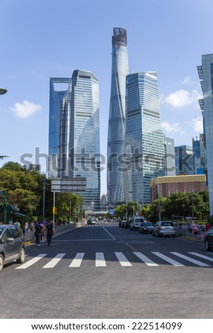 CHINA, SHANGHAI - SEP 15, 2014: Photo of skyscrapers in the city center