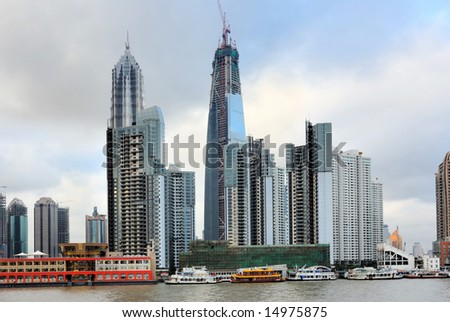 China Shanghai the jinmao tower, the shanghai world financial center  and pudong skyline