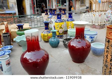 China,Shanghai water village Nanxun chinese vases - stock photo
