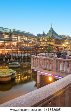 china Shanghai Yuyuan(Built in 1559,Renowned ancient architecture attraction) - stock photo