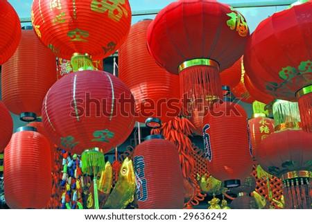 China Shanghai Yuyuan market red lanterns. - stock photo