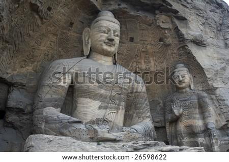 China/shanxi:Stone carving of Yungang grottoes - stock photo