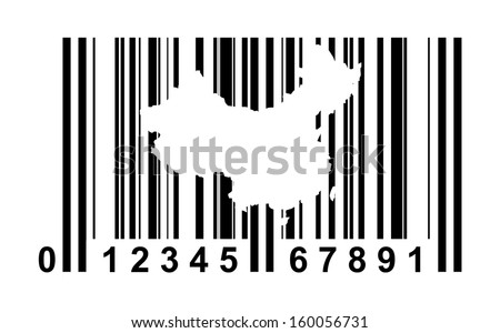 China shopping bar code isolated on white background.