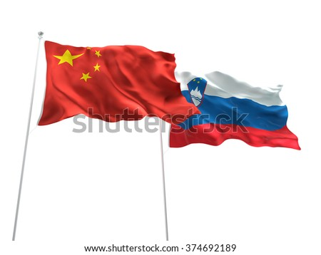 China & Slovenia Flags are waving on the isolated white background