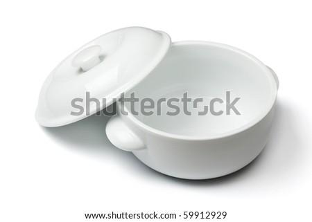 China soup dishware. Isolated on white background - stock photo