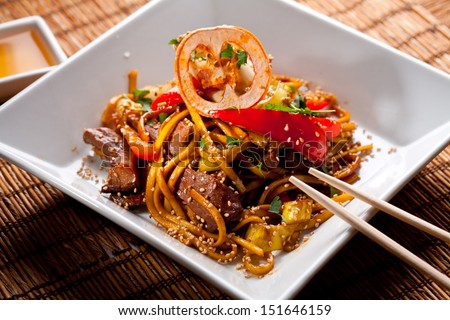 China starch noodles with veal. - stock photo