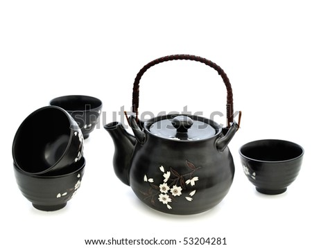china tableware for chinese tea ceremony over white background - stock photo