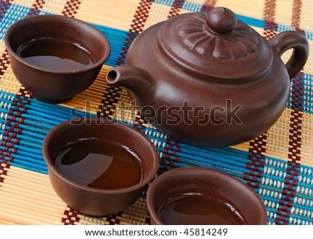 china tea ceremony for three person in ceramic set - stock photo