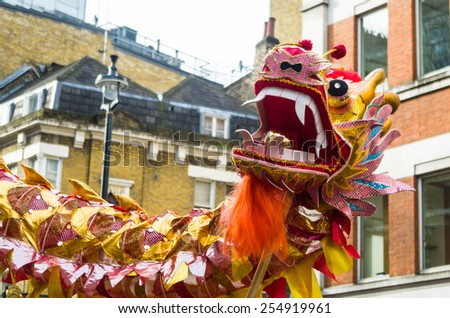 CHINA TOWN IN LONDON - FEBRUARY 22: Main parade celebration of Chinese New Year - the year of the sheep. London 22 february 2015 - stock photo