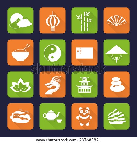 China travel traditional culture symbols flat icons set with great wall temple bamboo isolated  illustration - stock photo
