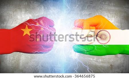 China vs India - stock photo