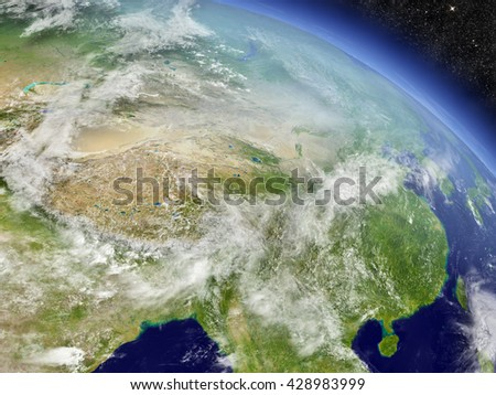 China with surrounding region as seen from Earth's orbit in space. 3D illustration with highly detailed realistic planet surface and clouds in the atmosphere. Elements of this image furnished by NASA.