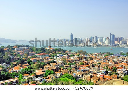 China Xiamen aerial view from Gulang-yu island - stock photo