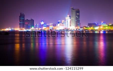 China Xiamen night scene - stock photo