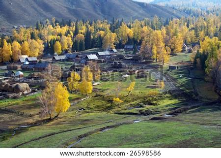 China/xinjiang hiking: Fall colors of Baihaba village - stock photo