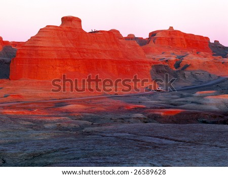 China/xinjiang hiking: Urho Ghost Castle when sunset - Yadan landform