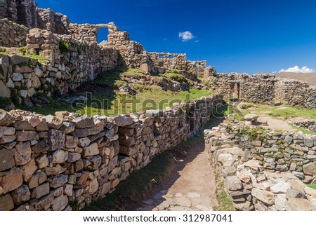 Chincana ruins at Isla del Sol (Island of the Sun) in Titicaca lake, Bolivia - stock photo
