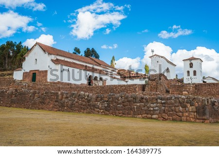 Chincheros town in the peruvian Andes at Cuzco Peru - stock photo