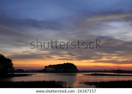 Chincoteague Virginia Sunrise Horizontal with Copy Space - stock photo