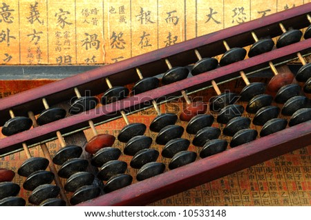 Chinese abacus with chinese text background